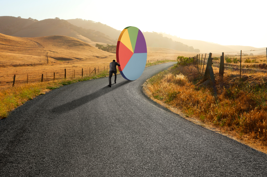 stock-photo-48712416-businessman-pushing-pie-chart-down-rural-road